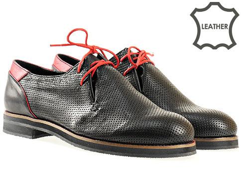 Модерни дамски обувки с изчистен италиански дизайн, изпълнени в черна естествена кожа с червени акценти  6230ch