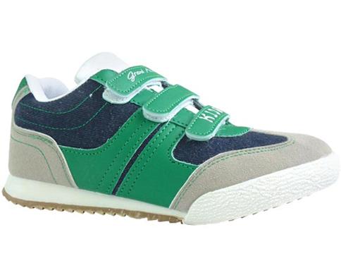 Детски маратонки с ласитични връзки и лепенка в зелен цвят, произведени за марката GRAND ATTACK 01132z