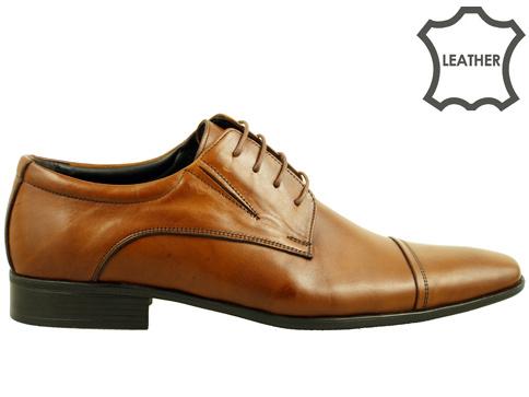 Комфортни мъжки обувки с връзки в кафяв цвят 467k