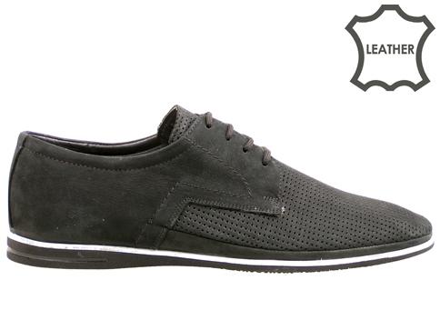 Мъжки обувки с връзки на меко и пластично ходило, изработени от естествен набук 027nch