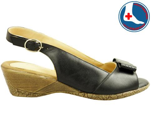 Анатомични сандали Naturelle с удобно клин ходило, изпълнени от черна естествена кожа z99145ch