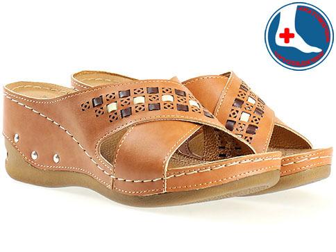 Анатомични дамски чехли в кафяв цвят 10646k