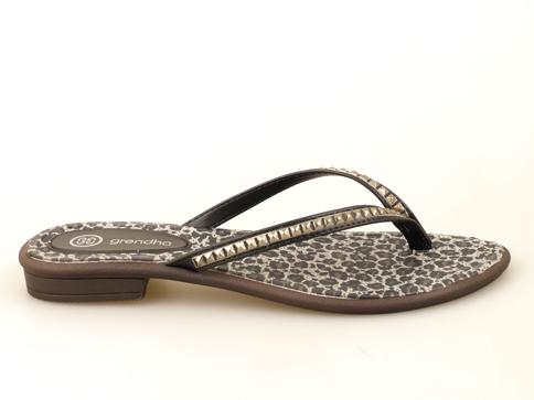 Дамски чехли с тигров принт и камъчета 8045122173