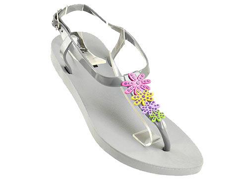 Модерни дамски сандали GRAND ATTACK в сив цвят с интересни цветни цветя 3640sv