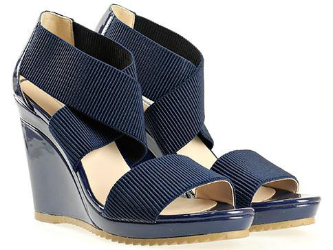 Дамски сандали от еко лак и текстил в син цвят 15148005s