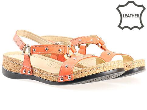 Дамски сандали от естествена кожа с анатомична стелка k203o