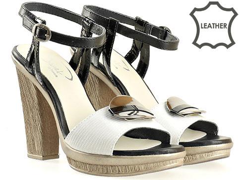 Модерни давски сандали на висок ток и платформа с метален орнамент 1580231sv