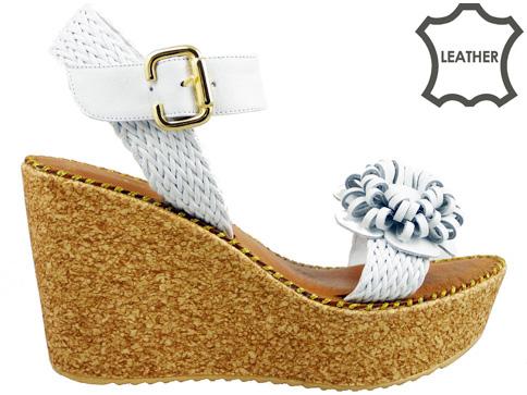 Ефектни дамски сандали на коркова платформа, изработени от естествена кожа 5125b