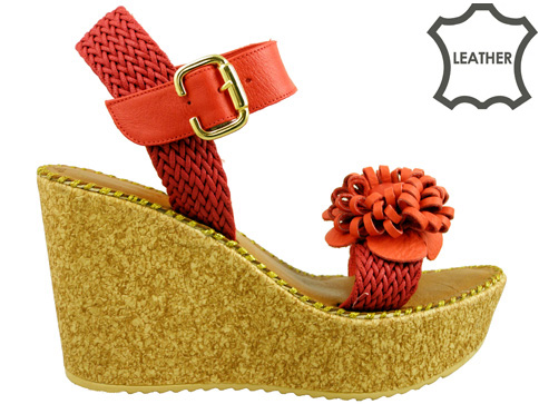 Ефектни дамски сандали на коркова платформа, изработени от естествена кожа 5125chv