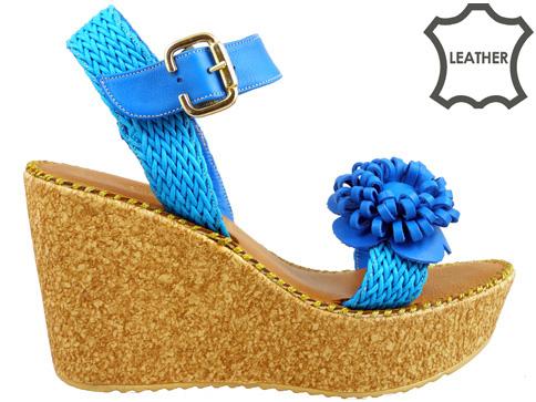 Ефектни дамски сандали на коркова платформа, изработени от естествена кожа 5125s