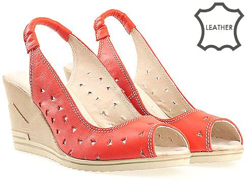 Червени дамски сандали на платформа 20515462chv