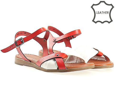 Дамски сандали в свежа комбинация от бяло и червено 1009bchv