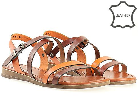 Дамски сандали в кафяво и оранжево 1018ko