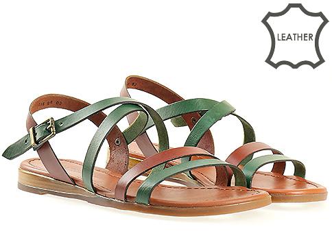 Дамски сандали в оранжево и зелено 1018kz