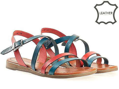 Дамски сандали в син и червен цвят 1018schv