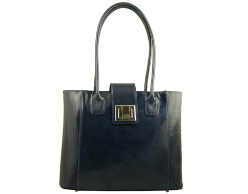 Изискан модел елегантна дамска чанта с метална закопчалка, изработена от тъмно синя естествена кожа a29s