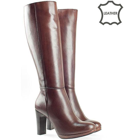 Дамски качествени ботуши на висок модерен ток от естествена кожа в кафяв цвят с цип 50806kk