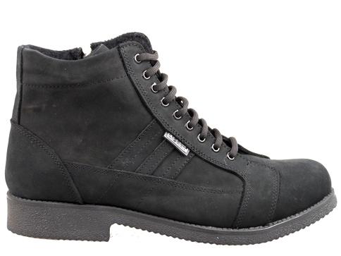 Комфортни мъжки боти с грайферно ходило, изработени от черен естествен набук 0205120nch