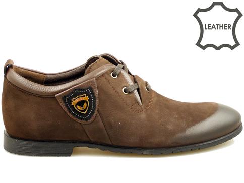 Модерни мъжки обувки с изчистен италиански дизайн в тъмно кафяв цвят 2906nkk