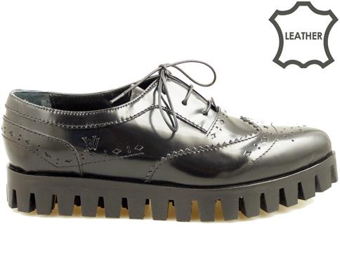 Модерни дамски обувки с атрактивен италиански дизайн от естествена кожа 5076lch