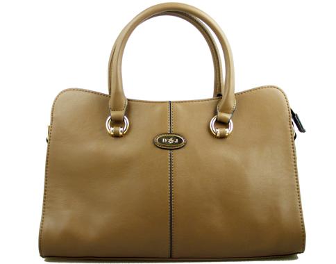 Класическа дамска чанта David Jones с метално лого на марката в бежов цвят cm2321bj