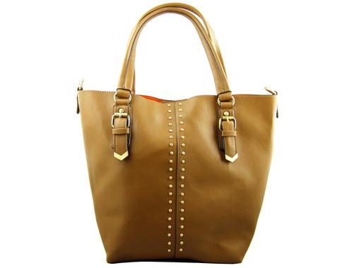 Модерна дамска чанта с ефектни капси на  френска марка David Jones в тъмно бежов цвят cm0760bj