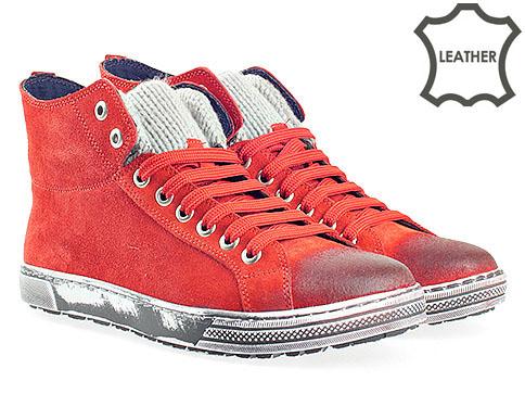 Модерни мъжки кецове в червен цвят с интересно опушено ходило 7011-45vchv