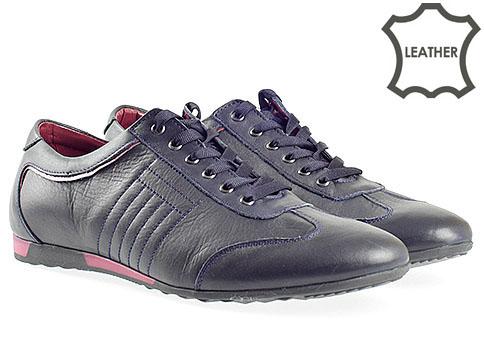 Комфортни мъжки обувки от естествена кожа в тъмно син цвят 70563s