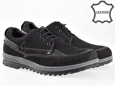 Ежедневни мъжки обувки от естествен велур в черен цвят с комфортно грайферно ходило 2001vch