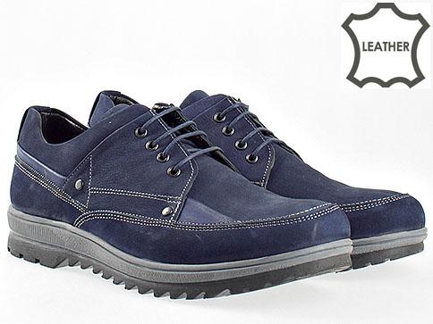 Ежедневни мъжки обувки от естествен велур в син цвят с комфортно грайферно ходило 2001vs