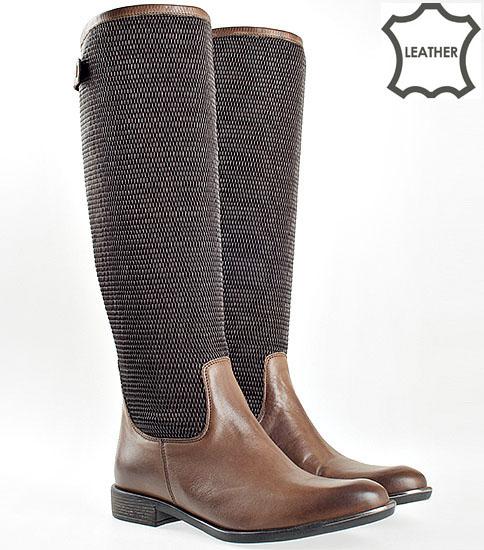 Модерни дамски ботуши Carinii, изработени от естествена кожа с интересен метален аксесоар  2295k