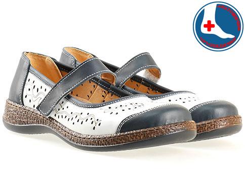 Анатомични дамски обувки Loretta със стилна визия, изпълнени от висококачествена естествена кожа в бяло - синя цветова гама l5544b