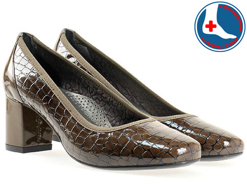 Анатомични дамски обувки Naturelle, изработени от естествена кожа с кроко принт и лак z1522klk