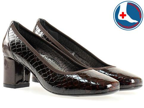 Анатомични дамски обувки Naturelle, изработени от естествена кожа с кроко принт и лак z1522klkk