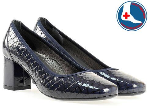 Анатомични дамски обувки Naturelle, изработени от естествена кожа с кроко принт и лак z1522kls