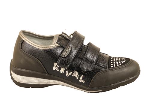 Качествени детски обувки с лепенки в черен цвят 10348ch