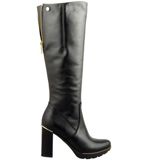 Стилни дамски ботуши на удобен висок ток с модерна платформа, изработени от естествена кожа 1780ch