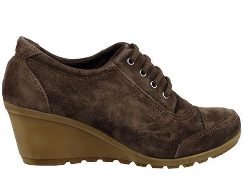 Качествени дамски обувки с връзки от естествен велур, на комфортно каучуково ходило 15133vk