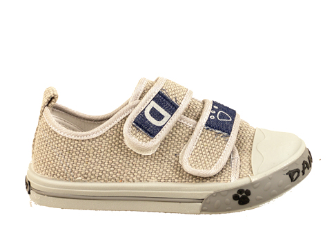 Детски спортни обувки от текстил с две лепенки в бежов цвят 17878sv