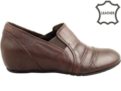 Ежедневни дамски обувки от естествена кожа с удобна платформа 345kk