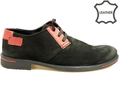 Ефектни мъжки обувки с връзки, изработени от черен естествен  велур 69551nchchv