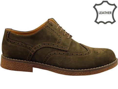 """Стилн мъжки обувки тип """"Оксфорд"""" в тъмно кафяв цвят 02nk"""