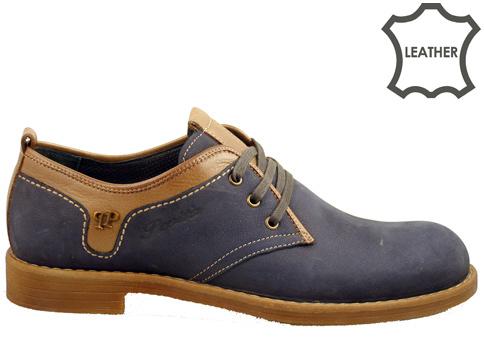 Комфортни мъжки обувки изработени от естествен набук в комбинация от тъмно син и кафяв цвят 2873ns