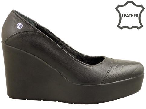 Стилни дамски обувки на модерна платформа, изработени от естествена кожа 644ch