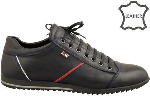 Мъжки спортни обувки с връзки и модерна визия, изработени от синя естествена кожа 273s