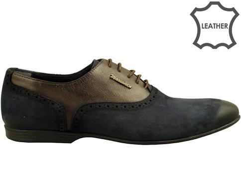 Луксозни мъжки обувки със стилна визия и моден дизайн, изработени в синьо-кафява цветова гама 422451ns