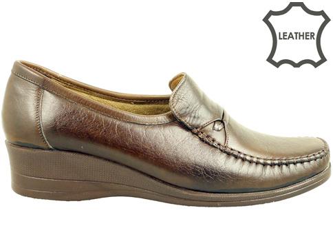 Анатомични дамски обувки на платформа, тип мокасина от естествена кожа 123kk