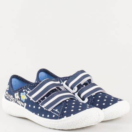 Детски текстилни обувки на точки с кожена стелка и две лепки- MONETA в синьо и бяло petunia