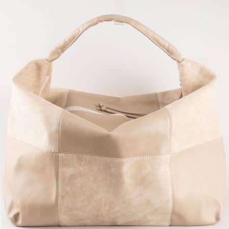 Дамска чанта за всеки ден в комбинация от висококачествен еко набук и кожа на български производител в бежово s1126bj