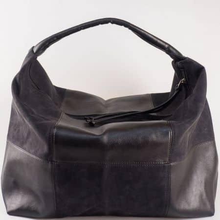 Дамска чанта за всеки ден в съчетание от висококачествен еко набук и кожа на български производител в черен цвят s1126ch